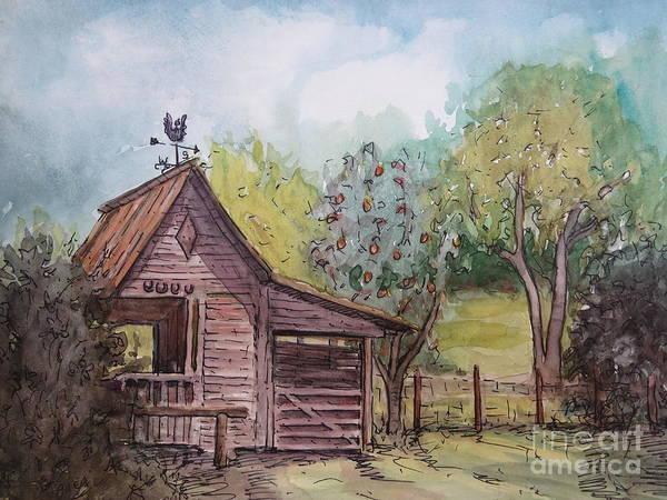 Fencepost Painting - Elma's Horse Barn by Gretchen Allen