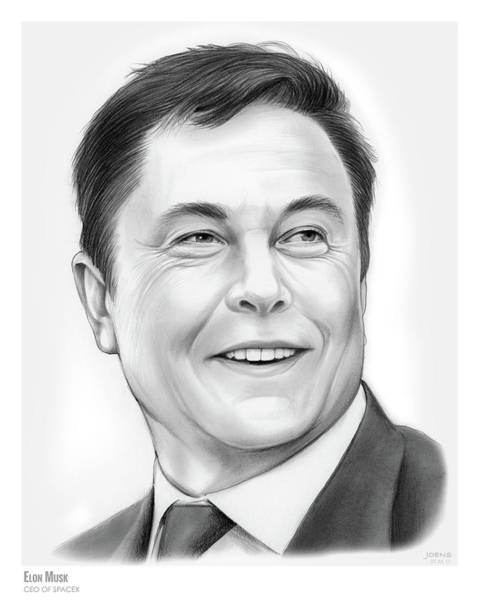 Wall Art - Drawing - Elon Musk by Greg Joens