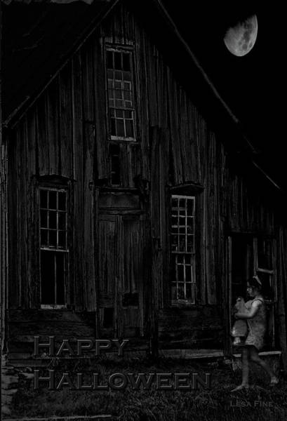 Photograph - Elora Shacks Moon Happy Halloween Card Bw by Lesa Fine