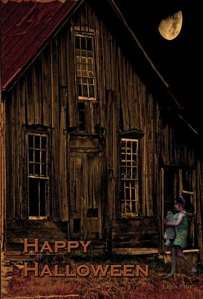 Photograph - Elora Shacks Moon Happy Halloween Card by Lesa Fine