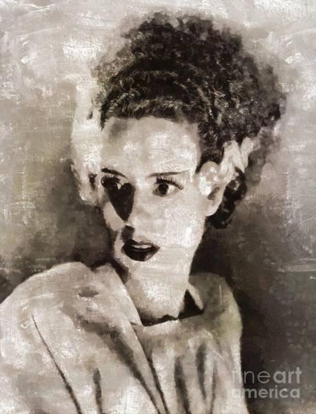 Frankenstein Painting - Elsa Lanchester As The Bride Of Frankenstein by Mary Bassett
