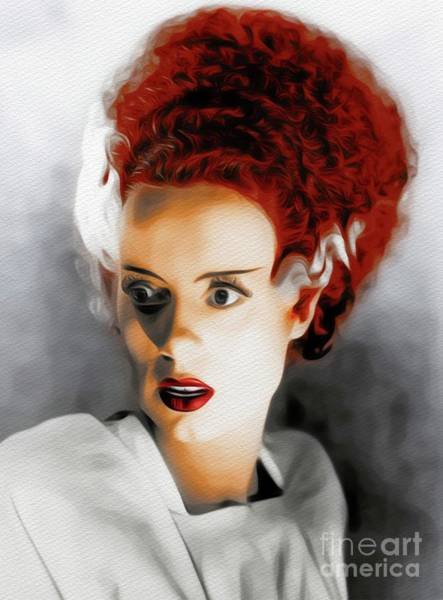 Frankenstein Painting - Elsa Lanchester, Movie Legend by John Springfield