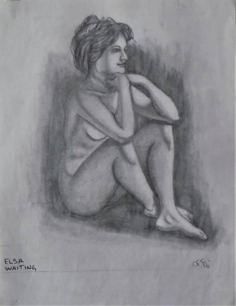 Drawing - Elsa Waiting by Chuck Caputo