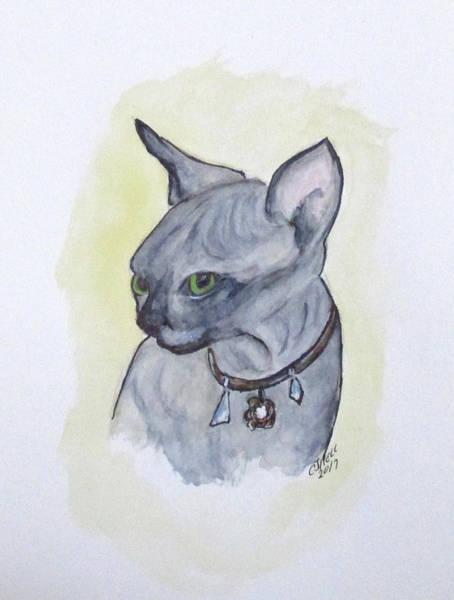Painting - Else The Sphynx Kitten by Clyde J Kell