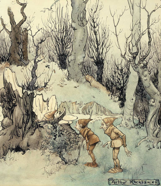 Gnarl Wall Art - Painting - Elves In A Wood by Arthur Rackham