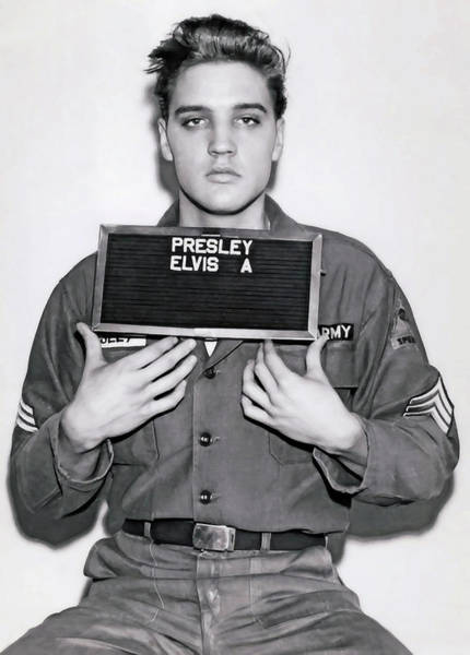 Mugshot Wall Art - Digital Art - Elvis Army Mugshot 1960 by Daniel Hagerman