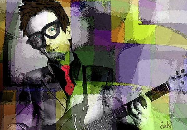 Iggy Pop Painting - Elvis Costello New Wave by Enki Art