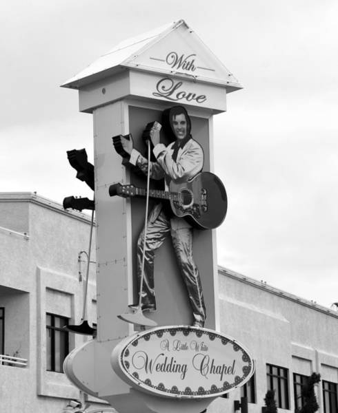 Wall Art - Photograph - Elvis On Wedding Chapel Sign by David Lee Thompson