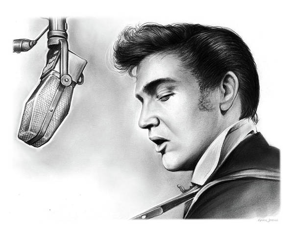 Rock Music Drawing - Elvis Presley by Greg Joens