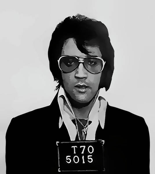 Wall Art - Digital Art -  Elvis Presley Mugshot  1970 by Daniel Hagerman