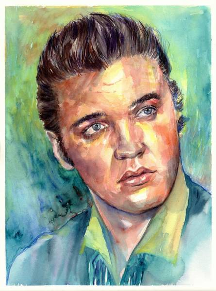 Old Blue Eyes Wall Art - Painting - Elvis Presley Portrait by Suzann Sines