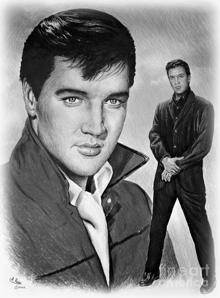 Handsome Drawing - Elvis Roustabout by Andrew Read