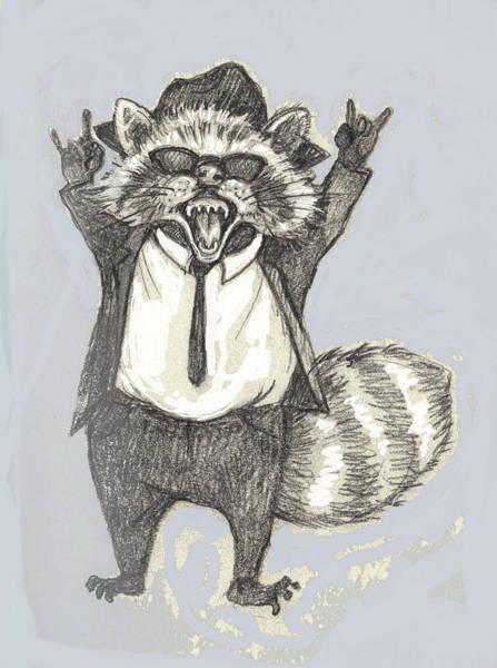 Elwood Blues Painting - Elwood Raccoon by Peggy Wilson
