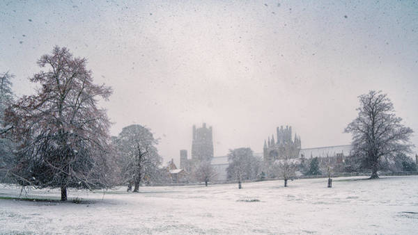 Photograph - Ely Cathedral Snow Shower by James Billings