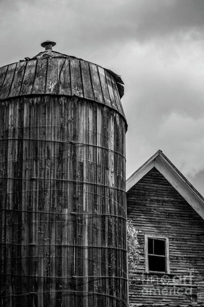 New England Barn Photograph - Ely Vermont Old Wooden Silo And Barn Black And White by Edward Fielding