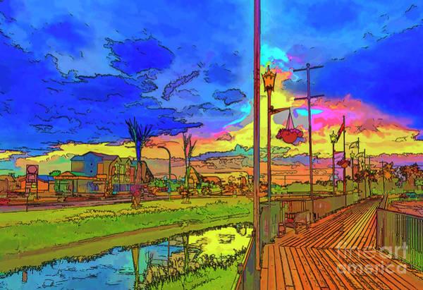 River Scene Mixed Media - Embankment In Rainbow Colors. by Viktor Birkus