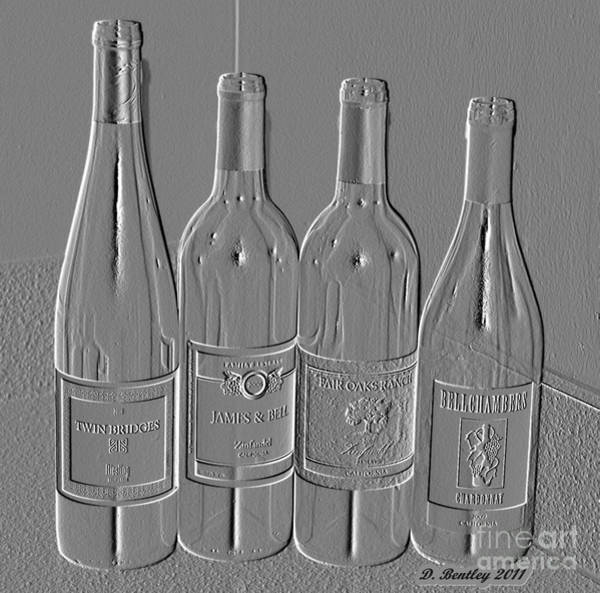 Photograph - Embossed Wine Bottles by Donna Bentley