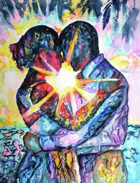 Togetherness Painting - Embracing Couple In Love by Carlin Blahnik CarlinArtWatercolor
