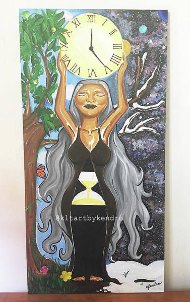 Grandfather Clock Painting - Embracing Time by KLT Art by Kendro