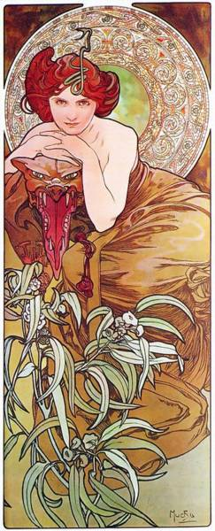 Painting - Emerald by Alphonse Mucha