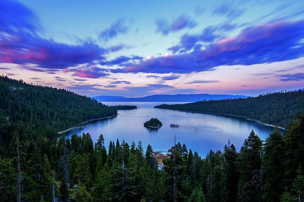 Photograph - Emerald Bay And Ms Dixie At Sunset By Brad Scott by Brad Scott