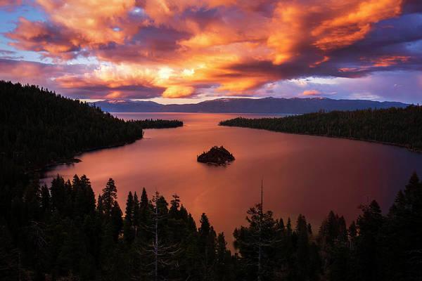 Emerald Bay Photograph - Emerald Bay Fire by Brad Scott