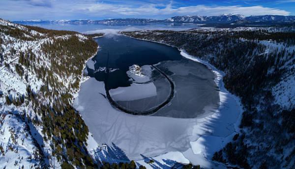 Emerald Bay Photograph - Emerald Bay Ice Aerial by Brad Scott