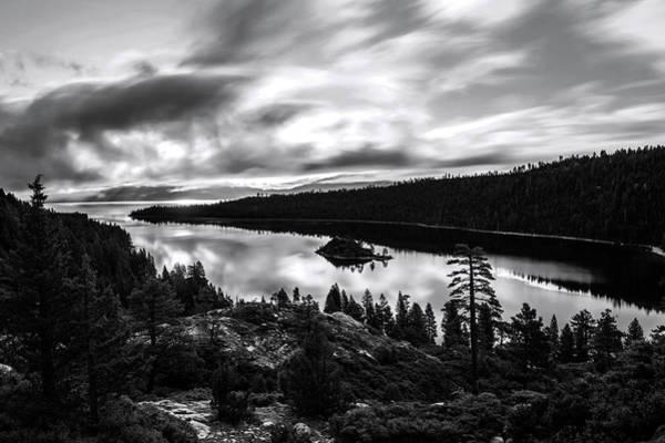 Emerald Bay Photograph - Emerald Bay Rays Black And White By Brad Scott by Brad Scott