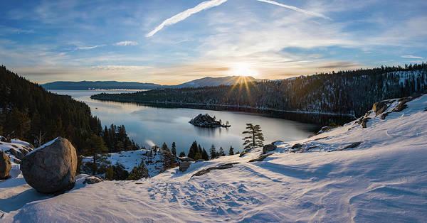 Emerald Bay Photograph - Emerald Bay Winter Sunburst By Brad Scott by Brad Scott