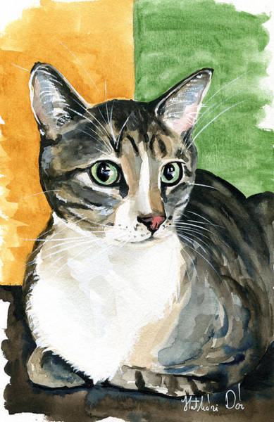 Painting - Emerald Eyes - Tabby Cat Portrait by Dora Hathazi Mendes