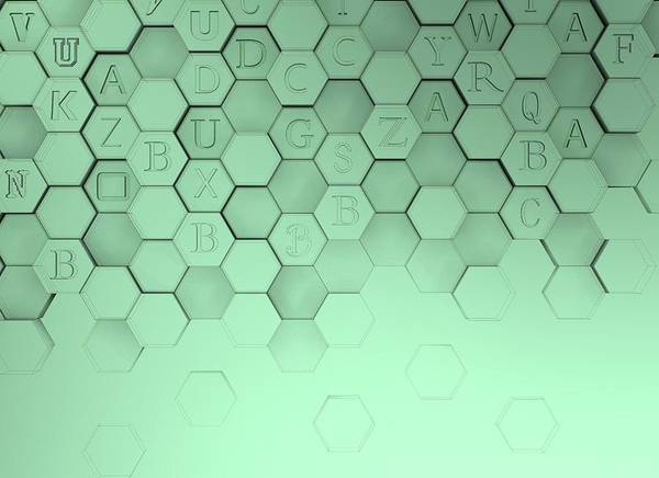 Digital Art - Emerald Hexagons With Letters. by Alberto RuiZ