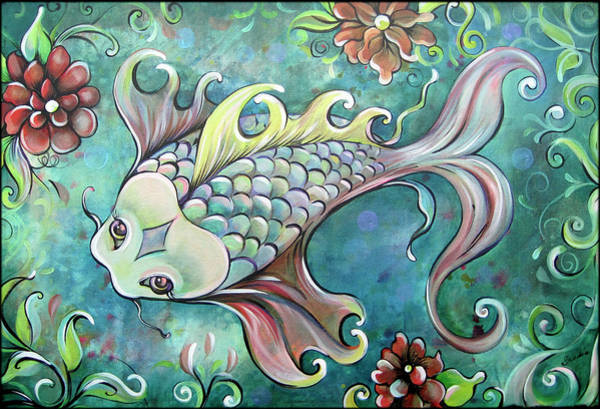 Wall Art - Painting - Emerald Koi by Shadia Derbyshire