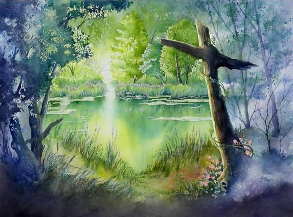 Trumpeter Swan Painting - Emerald Lake by Gail Vass