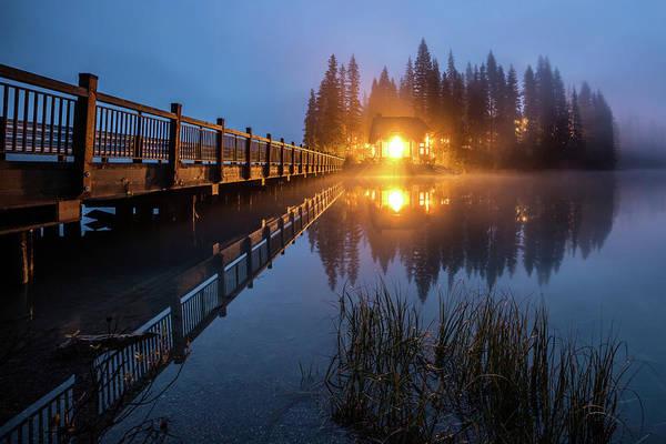 Photograph - Emerald Lake Lodge In The Twilight Fog by Pierre Leclerc Photography