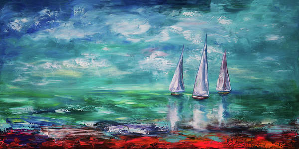 Painting - Emerald Morning by OLena Art - Lena Owens