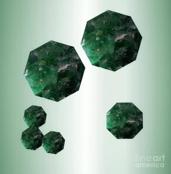 Mixed Media - Emerald Octagons by Rachel Hannah
