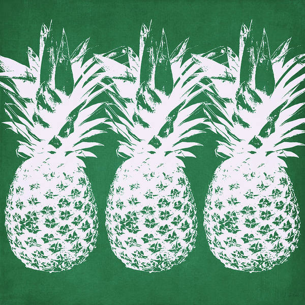 Wall Art - Mixed Media - Emerald Pineapples- Art By Linda Woods by Linda Woods