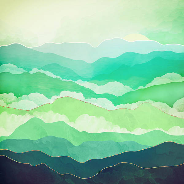 Spring Mountains Digital Art - Emerald Spring by Spacefrog Designs
