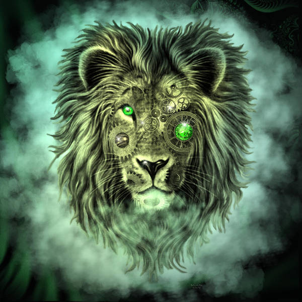 Emerald Steampunk Lion King Art Print