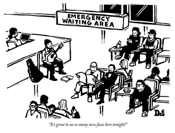 Hospitals Drawing - Emergency Waiting Area by Drew Dernavich