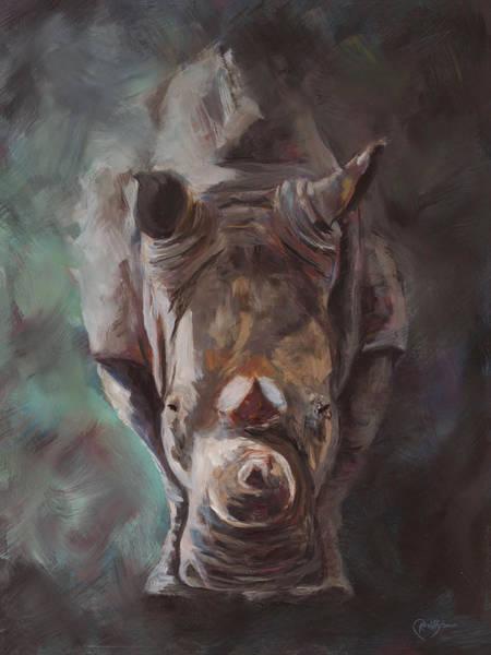Rhino Painting - Emerging by Kirsty Rebecca