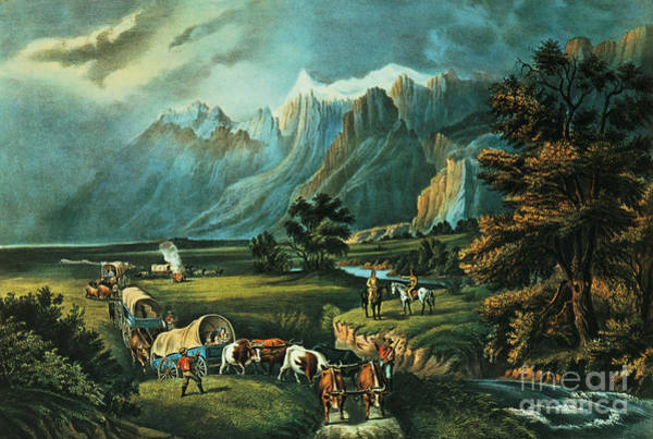 Settlers Painting - Emigrants Crossing The Plains by Currier and Ives
