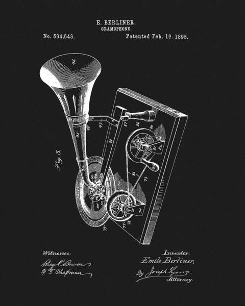 Drawing - Emile Berliner Gramophone by Dan Sproul