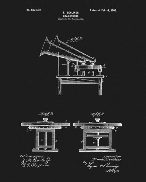 Drawing - Emile Berliner Gramophone Patent by Dan Sproul