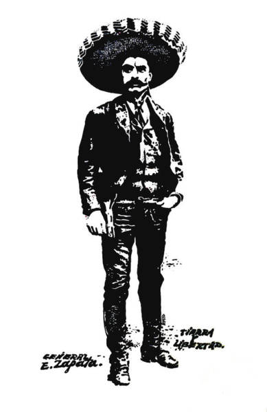 Wall Art - Drawing - Emiliano Zapata by Antonio Romero
