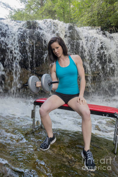 Photograph - Emily Lifting Weights On Stream by Dan Friend
