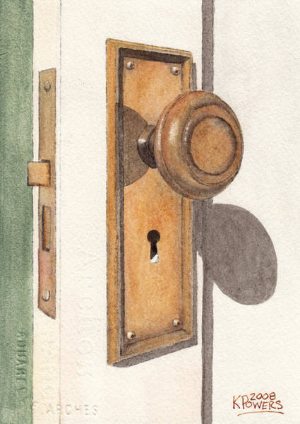 Painting - Emily's Door Knob by Ken Powers