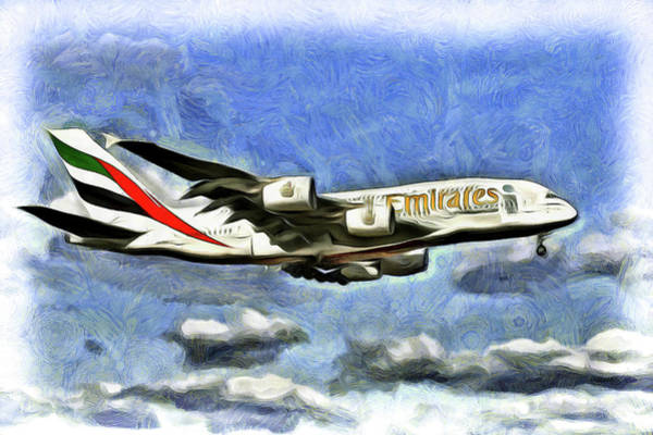 Wall Art - Mixed Media - Emirates A380 Airbus Van Gogh by David Pyatt