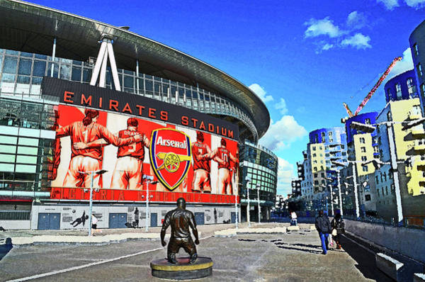 Emirates Stadium Wall Art - Mixed Media - Emirates Stadium London With Statue Of Thierry Henry Home Of Arsenal Fc by Peter Allen