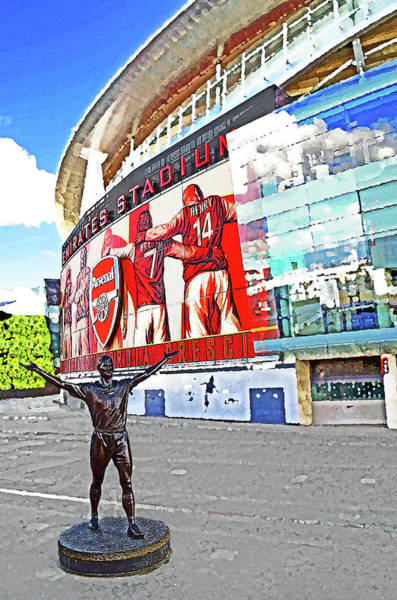 Emirates Stadium Wall Art - Mixed Media - Emirates Stadium London With Statue Of Tony Adams Home Of Arsenal Fc by Peter Allen